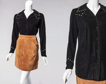 90s black velvet western shirt with rhinestone yoke detail | size medium