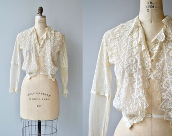 Poetesse jacket blouse | antique 1910s jacket | edwardian lace blouse jacket