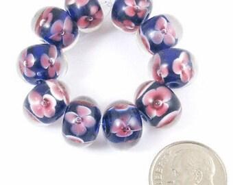 Rondelle Encased Lampwork Beads-BLUE + PINK FLOWERS (10 Pieces)