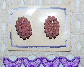 Vintage 1950's Lavender Clip Cluster Earrings