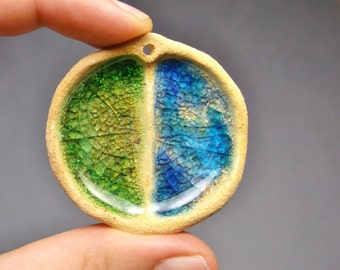 Twin Lakes Sparkling Glass Pool Pendant, Ceramic Stoneware with Watery Blue and Mossy Green Recycled Glass
