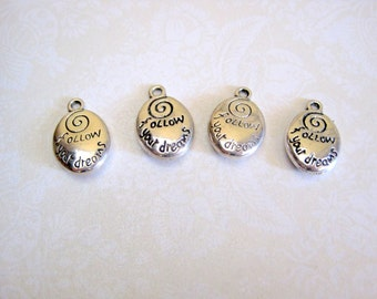Tibetan Silver Follow Your Dreams Charm - Set of 7 - 21x14mm