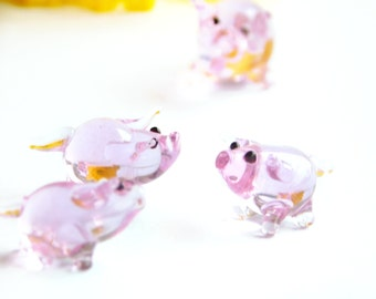 Vintage Miniature Trans Purple Art Glass Mother Pig 3 piglets 1970's Made in Germany Glass Menagerie Shadow Box Minis Farm animal