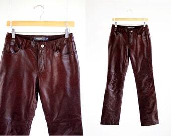 GAP Brand Woman's Vintage 90's Dark Brownish Maroon 5 pocket Retro Leather Pants