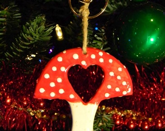 Ceramic Mushroom Ornament RED Amanita muscari Fly  Ornament -  hand made ceramic pottery Love heart mushroom
