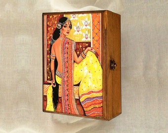 Bharat, Indian woman art art box, Indian decor, Goddess art, feminine beauty, keepsake box, jewelry box, 7x10