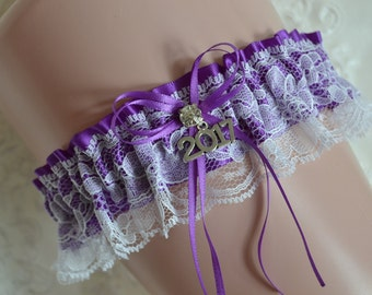 Purple Prom Garters, Prom Garter, Custom Made Prom Garter, Purple Garter Belt, White Lace Prom Garter belt, Prom Garter 2017 Prom