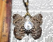Beautiful,fluttering,Filigree Oxidized Brass Butterfly Pendant with Working Compass and Vintage Glass Rhinestones