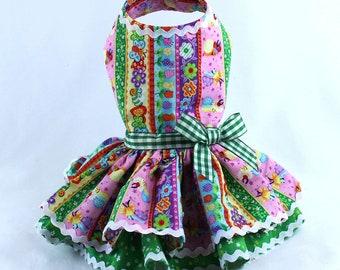 Dog Dress, Dog Harness Dress, Dog Clothes for Small Dog, Ruffle Dress for Dogs, Summer Dress, Handmade Dress, Custom Dress, Pink, Bugs