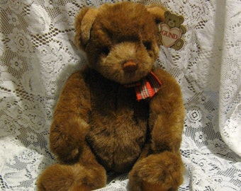 Gund Tuffy - Brown Plush Bear - 1988 - With Original Tag