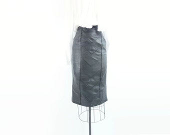 Black Leather Skirt Vintage Pencil Skirt Leather Pencil Skirt High Waist Skirt 1980s Black Leather Straight Skirt Vintage Black Skirt xs