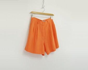 High Waist Shorts 80s Bermuda Shorts Orange Linen Shorts Made in France Designer Shorts 80s Bad Prince French Designer 80s Pleated Shorts s