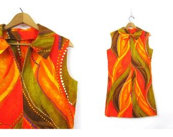 60s Mod Shift Dress Vintage Orange retro Graphic Abstract Print Mini Dress 1970s Zipper Front Hawaii Orange Yellow Go Go Womens Medium Large