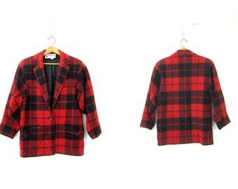 Vintage Buffalo Check Blazer WOOL Coat Slouchy Oversized Plaid Jacket Red and Black Fall Equestrian Blazer Womens size 8 Medium