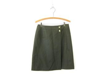 Dark Green Wrap Skirt 90s Linen Cotton Mini Skirt Plain Basic Hipster Skirt 1990s Minimal Womens Preppy Skirt Size 6 Small Medium