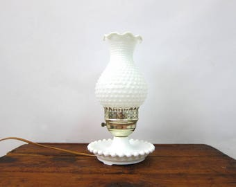 Vintage Mid Century Milk Glass Hobnob HURRICAINE Table Lamp Small White Accent Lamp Home Decor Light