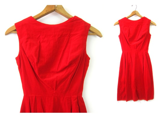 Red Velvet Dress 1960s Mod Party Mid Century Vintage Cocktail Sleeveless Dress Valentines Day Lover Mini dress XS Small