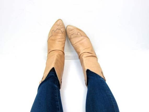 Vintage Natural Tan Leather Cowgirl Boots Low Calf Boots Womens Western Boots 80s 90s Cowboy Boots Made in Canada DES Womens 7.5 to 8