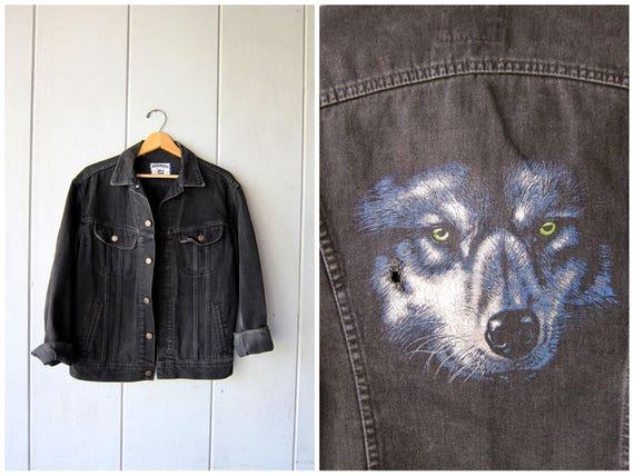 Black Denim Trucker Jacket 80s Oversized Jean Jacket PAINTED WOLF Coat DES Slouchy Black Jean Jacket Grunge Rocker Coat Mens Small