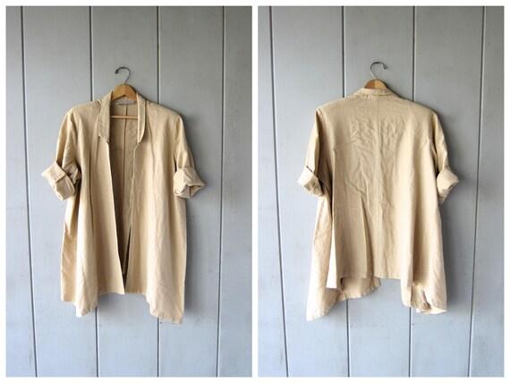Vintage Modern Natural LINEN RAYON Jacket Oversized 90s Beige Open Cardigan Coat Preppy Chic Linen Blazer Spring Jacket Womens XL