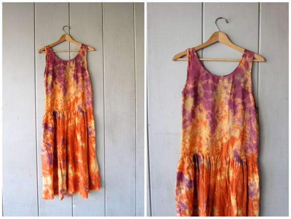 Vintage Tie Dye Slip Dress Long Midi Sun Dress Orange Purple Hippie Boho Dress Rayon SunDress Grunge Punk 70s 80s Dress Womens Small