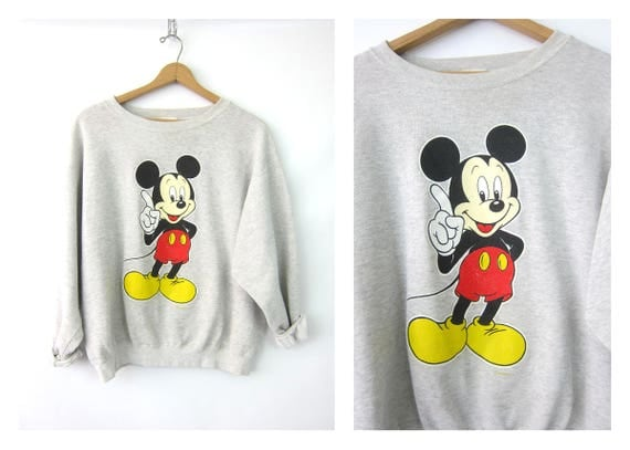 Mickey Mouse Sweatshirt Gray Oversized Disney Pullover Novelty Sweater Retro Preppy Hipster Jumper Top Womens Size Large XL