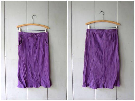 Minimal Purple Cotton Skirt Basic Drawstring Midi Skirt Textured Crinkled Cotton Spring Summer Skirt High Waist Skirt POCKETS Womens Medium