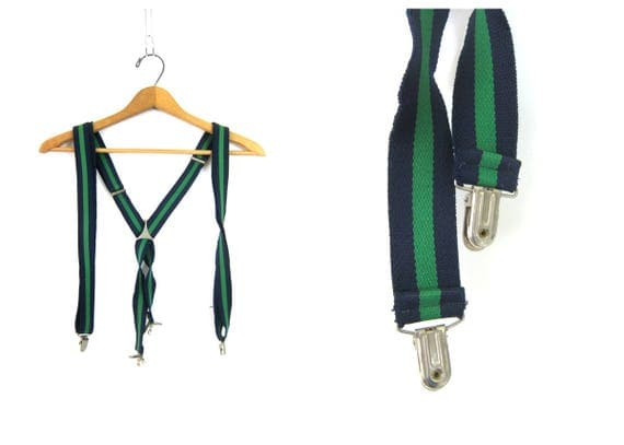 Vintage Green & Blue Suspenders Striped Retro Hipster Men's Belt with silver clips clasps 1980s Stretchy Belt Unisex
