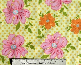 Floral Fabric - Sugar Blossom Yellow Pink Orange - Henry Glass Cotton BTY YARD