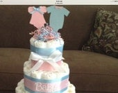 Custom chevron gender reveal diaper cake two tier