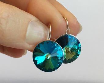 Blue Sparkle Crystal Drop Earring