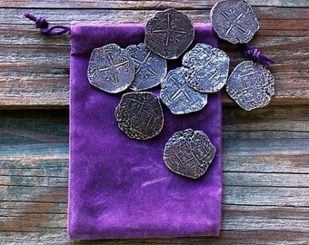 Nine Piece of Eight Coin Pirate Pewter Doubloons