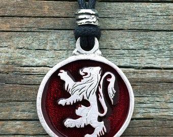 Rampant Lion Pewter Pendant