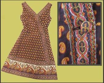 Fun in the SUN, Flirty, Charles Demery Souleiado Fabric, Paisley Sleeveless Dress, Faux Wrap, Provence, France, XS-S, Vintage Fashion, Women