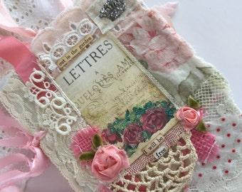 Garden Journal Mixed Media Art Journal Shabby  Rose Wedding Lace Book