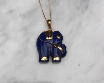 LAPIS LAZULI ELEPHANT 14k gold vintage antique good luck amulet charm pendant midcentury circa 1960s