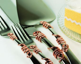Rose gold wedding cake server knife forks cake cutting reception decor bridal shower party quinceinera anniversary gift bride and groom