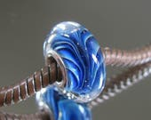 """RESERVED FOR ALEXANDRA Tangled Sky Glass """"River"""" #1 Fully Sterling Silver Lined Lampwork Charm Bead BhB"""