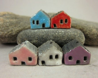 5 Saggar Fired Miniature House Beads...Blue Red Pink White Purple