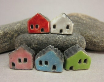 5 Saggar Fired Miniature House Beads...Red White Pink Blue Green