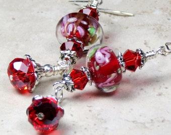 Red Lampwork Flower Beaded Dangle Earrings, Floral Earrings, Crystal Earrings, Botanical Earrings, Bohemian Chic Earrings, Unique Earrings