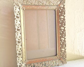 Beautiful Vintage Filigree Gold Brass Metal Picture Frame 5x7 Inch