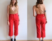 RESERVED Vintage Cropped Red Wranglers/ Raw Hem Frayed 1980s Jeans/ Size 27