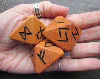 Unique and Exclusive - Rune Dice - made from Alder wood. Set 106.