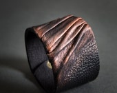 40% OFF Sale Elegant leather  bracelet cuff Statement jewelry Wide wristband Copper color