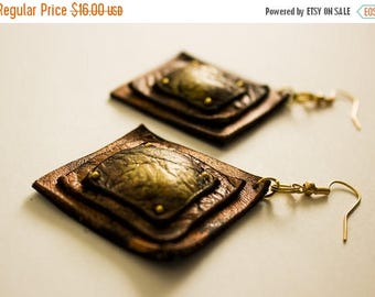 40% OFF SALE Copper square dangle earrings Leather Jewelry