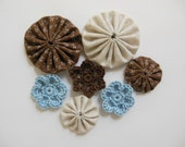 Yo-Yos and Crocheted Flowers - Blue, Brown and Taupe - Cotton Appliques - Cotton Embellishments