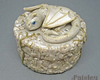 White Gold Dragon jewelry keepsake box, polymer clay mixed media gift box