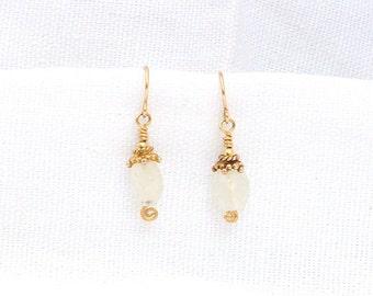 Rainbow Moonstone Gold Earrings