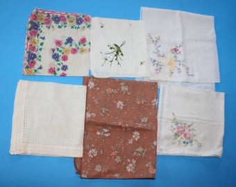 Vintage Ladies Handkerchief, Boxlot of 6 = all different